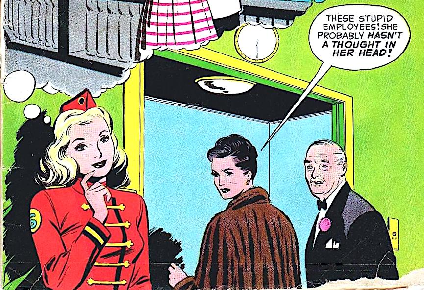 a 1950 elevator operator, from a comic book