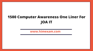 1500 Computer Awareness One Liner For JOA IT