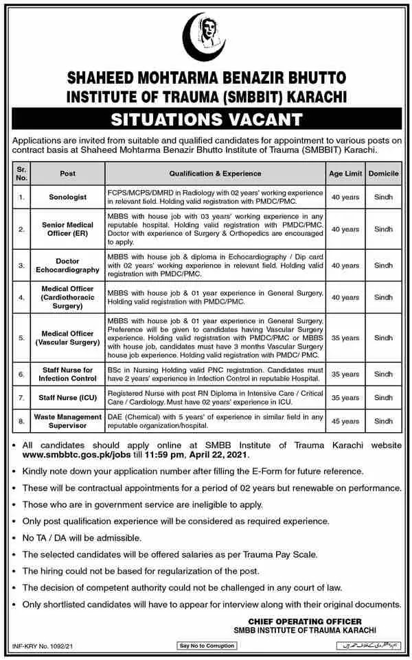 Medical Jobs  SMBBIT  Shaheed Mohtarma Benazir Bhutto Institute of Trauma 2021
