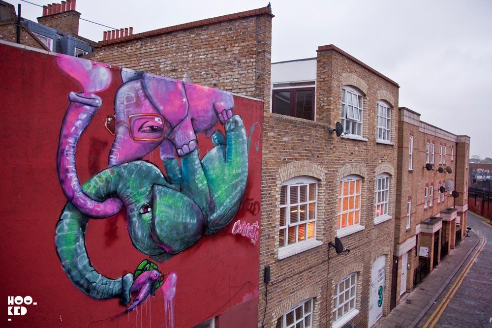 Hookedblog's Brick Lane Street Art Tour - Cernesto flying Elephants Mural