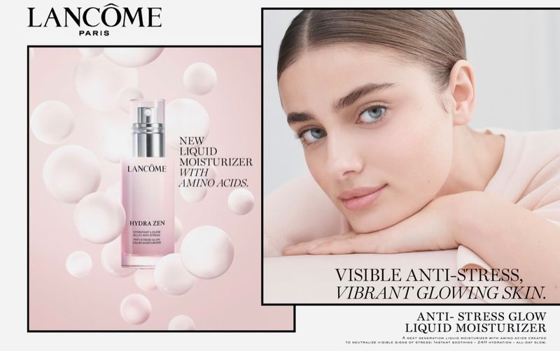 Taylor Hill is a glowing beauty for the Lancome Hydra Zen Campaign