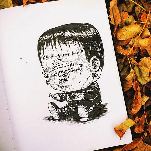 13-Frankenstein-Alex-Solis-Baby-Terrors-Drawings-Horror-Movie-Villains-www-designstack-co