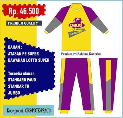 Seragam olahraga paud tk warna kuning ungu