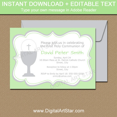 printable First Communion invitation template in green and silver
