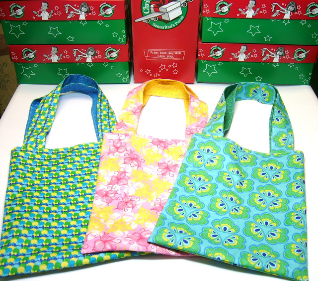 Library bags sewn for OCC shoeboxes.