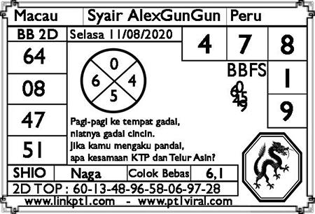 Syair AlexGunGun Macau Selasa 11 Agustus 2020
