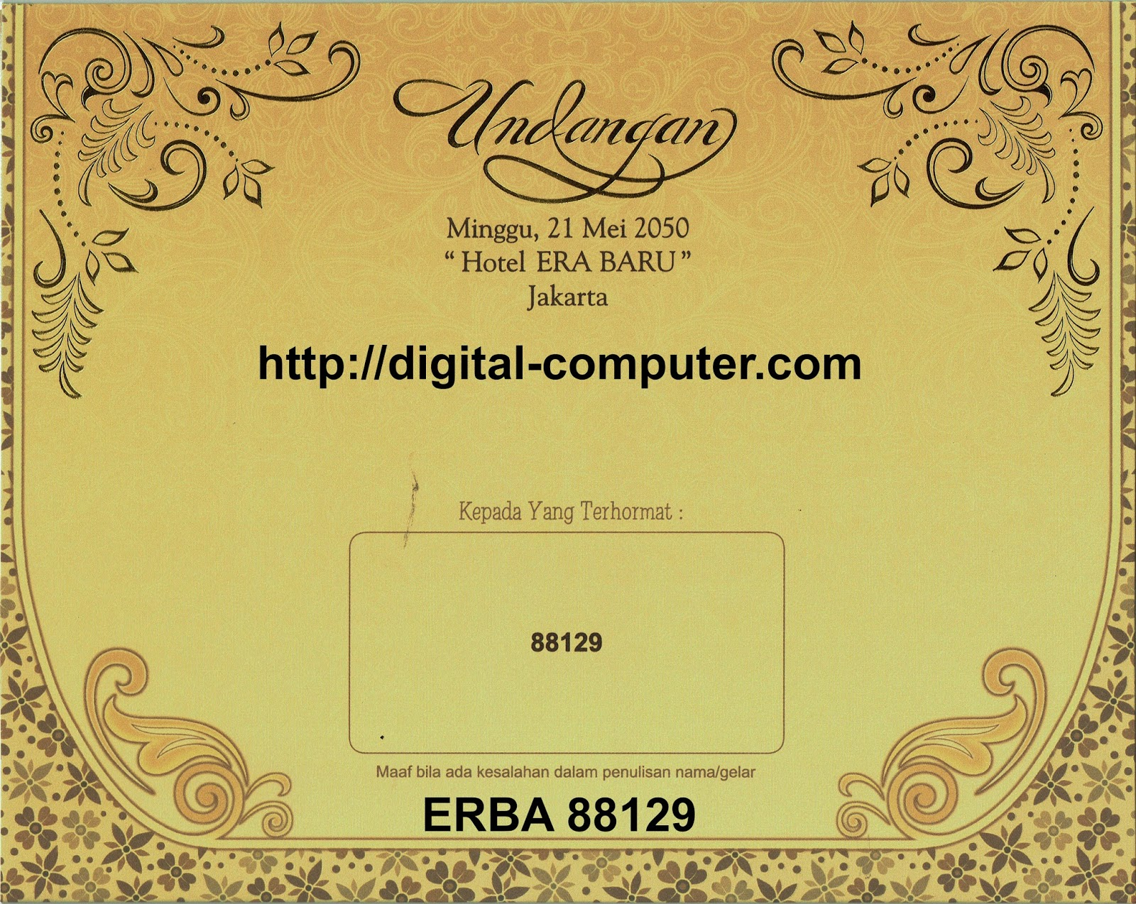 Undangan Softcover ERBA 88129