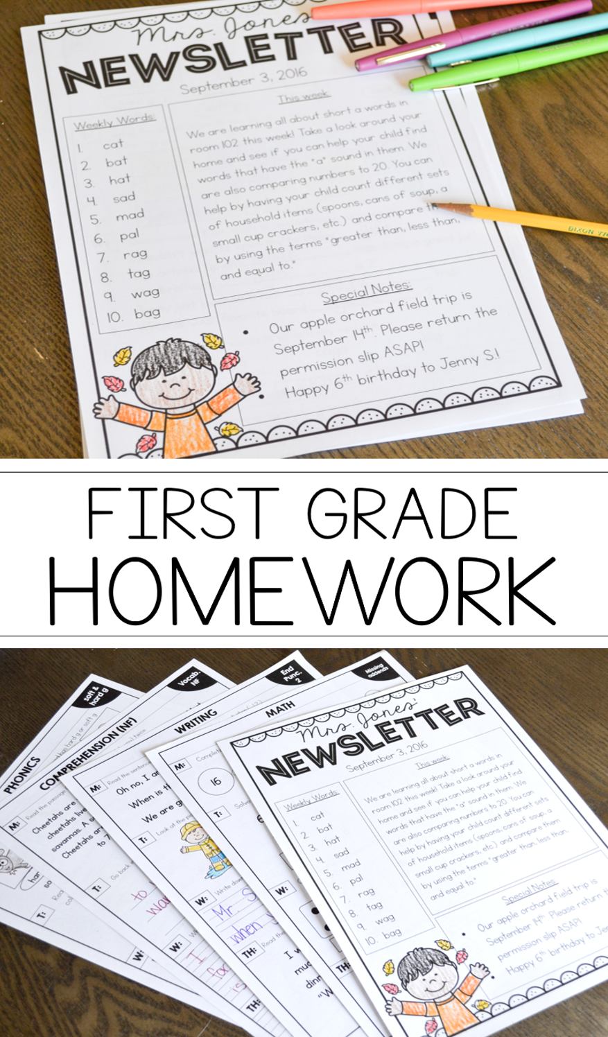 homework for first grade