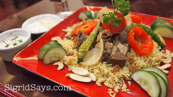 kapsa lamb biryani at Kabbara Cafe