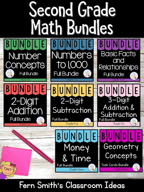 You can click on the link below to arrive at my TpT store already sorted for the grade level items you want for your class. Second Grade Go Math Bundles for your Second Grade and Third Grade Students. #FernSmithsClassroomIdeas