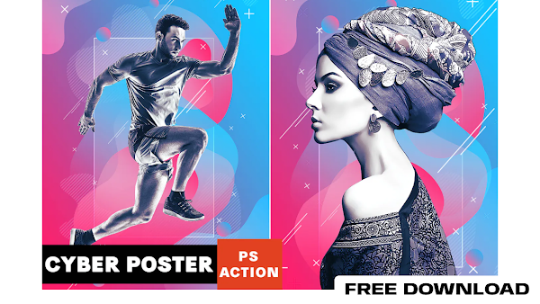 Cyber Poster Photoshop Action free download