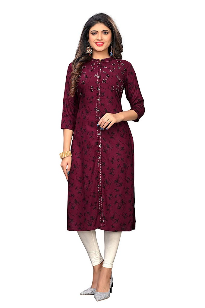 Vbuyz Women's Rayon Regular Kurta