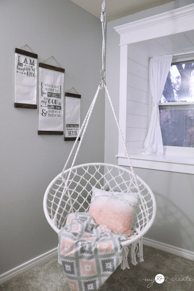 hanging swing in a girls room