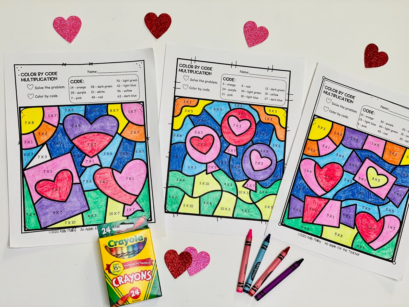 An Apple For The Teacher Valentine's Day Color By Number Math Facts