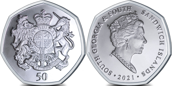 South Georgia and South Sandwich Islands 50 pence 2021 - Royal Coat of Arms
