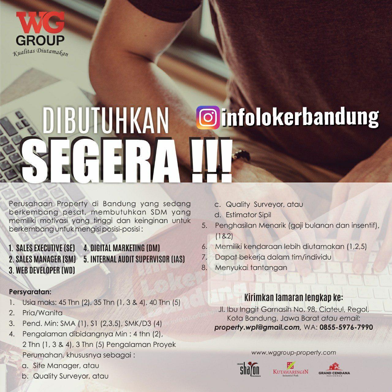 Lowongan Kerja WG Group Property Bandung November 2019