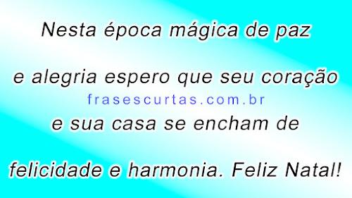 Nesta época mágica de paz e alegria espero que seu coração e sua casa se encham de felicidade e harmonia