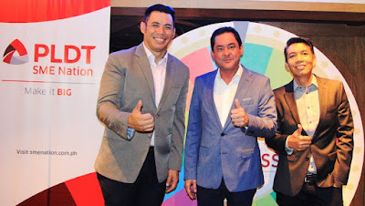 AVP and Head of SME Community Engagement Services and Marketing Communications Gabby Cui, VP and Head of PLDT SME Nation Mitch Locsin and AVP and Head of SME Fixed Product Marketing Amil Azurin