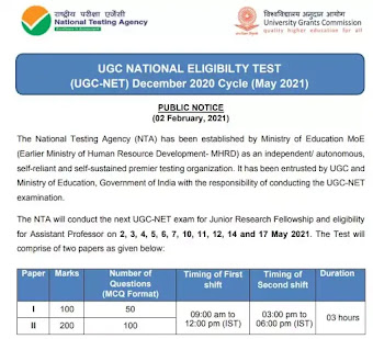 UGC NATIONAL ELIGIBILTY TEST (UGC-NET) December 2020 Cycle (May 2021)