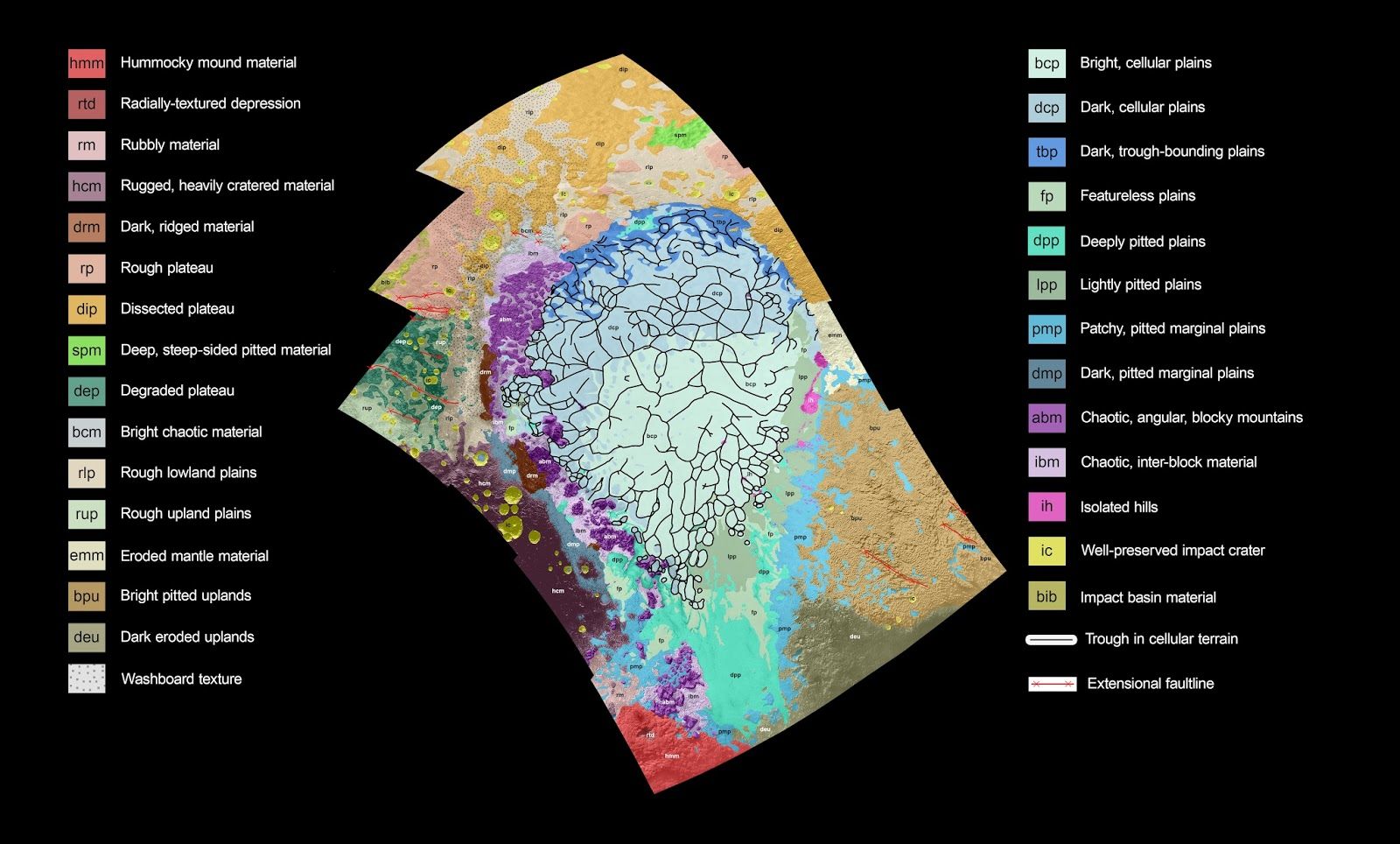 map of left side western lobe of plutonian heart shaped tombaugh regio feature uses colors to represent pluto s varied terrains color coded terrains help