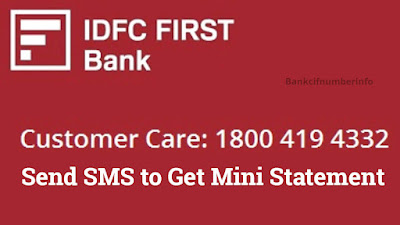 IDFC first bank mini statement in Mobile - SMS