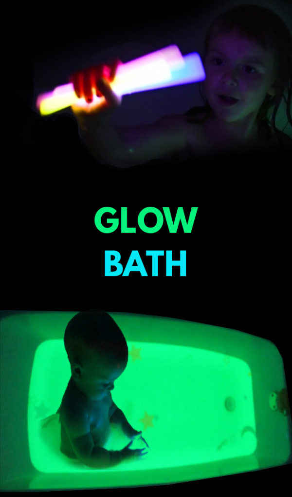 Fun & creative ways to make bath-time glow! #glowbath #glowwaterforkids #glowinthedark #howtomakeglowingwater #bathactivitiesforkids #growingajeweledrose