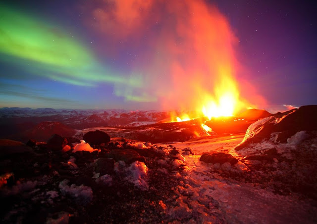 Volcano Eruption and Aurora