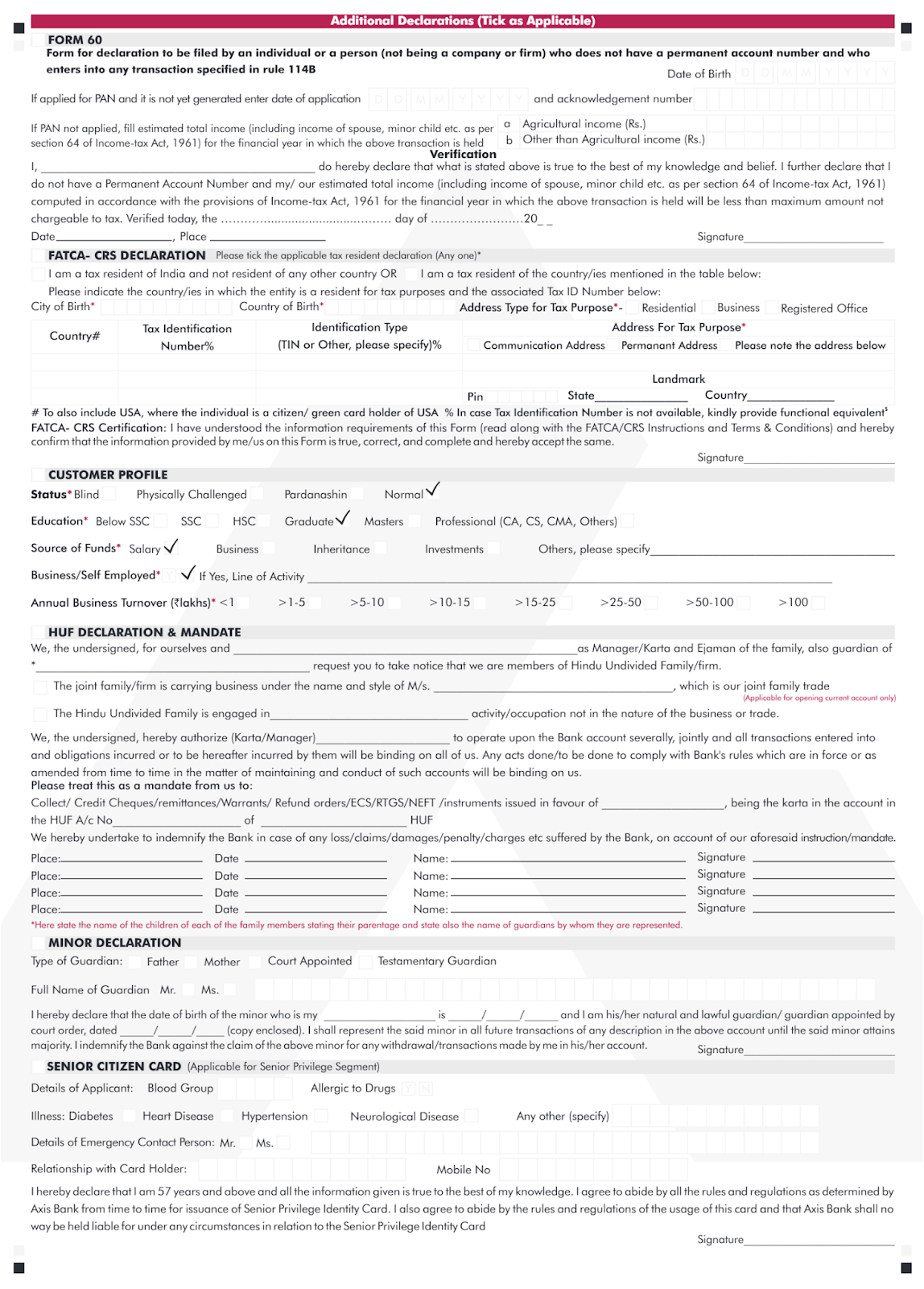 axis bank address updation form