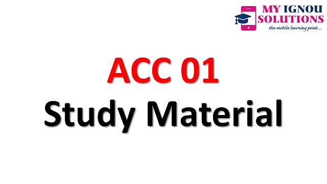 IGNOU ACC-01 Study Material