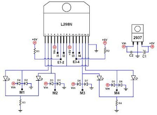 L298 Compact Motor Driver Circuit Schematic