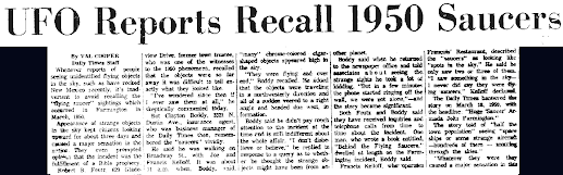 UFO Reports Recall Farmington Armada 5-1-1964