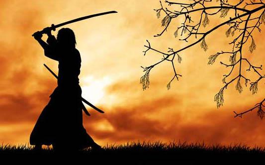 dibujo de samurai practicando con su sable