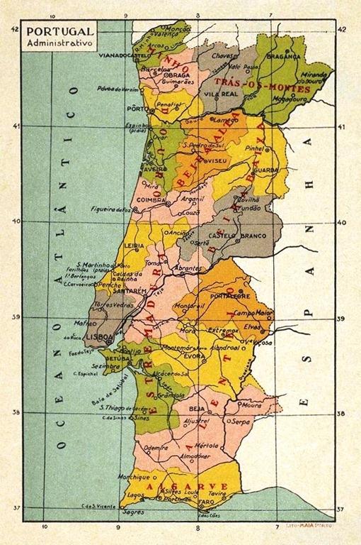 Bevorzugt deste Mapa de Portugal nas salas de aula - Ainda sou do tempo MY95