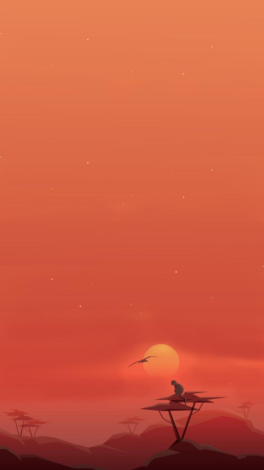sunset monkey orange simple wallpaper mobile