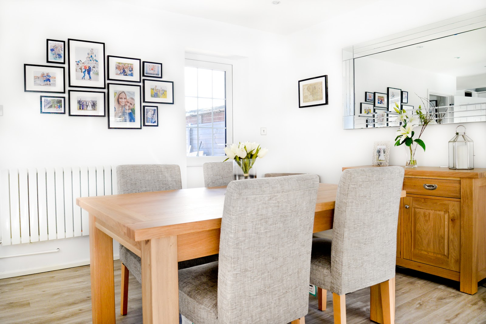 photo gallery wall, white modern Scandinavian style kitchen diner, modern white kitchen, modern rustic kitchen,