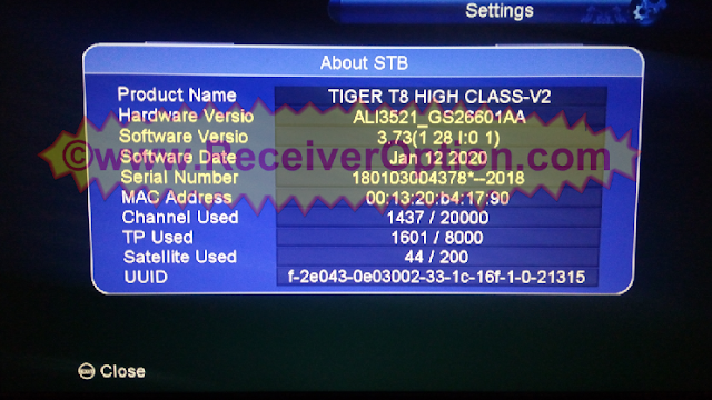 TIGER T8 HIGH CLASS V2 HD RECEIVER SOFTWARE NEW UPDATE V3.73