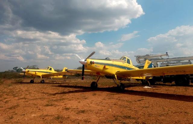 Foram disponibilizadas duas aeronaves Air Tractor, do Programa Bahia Sem Fogo (Foto: Divulgação)