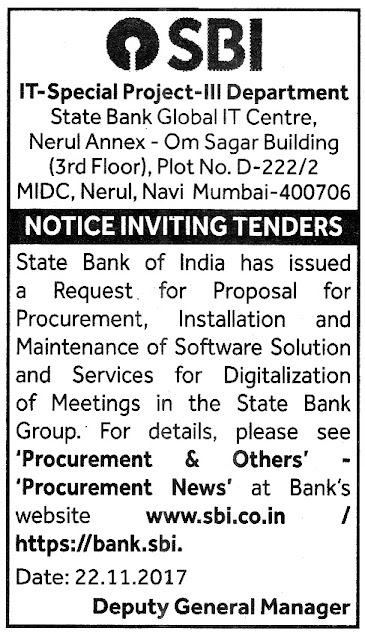 SBI Data Entry Tender