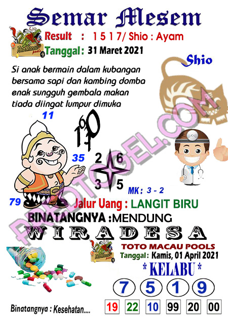 Syair Semar Mesem Toto Macau Kamis 01 April 2021