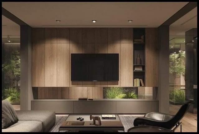 tv wall design wood
