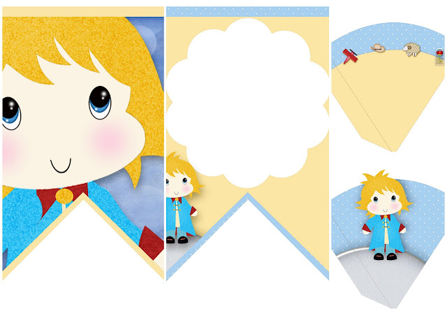 Sweet Little Prince Free Printable Banners and Cones.