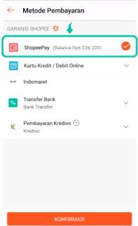 Bayar menggunakan saldo shopeepay sebagai alat pembayaran di shopee