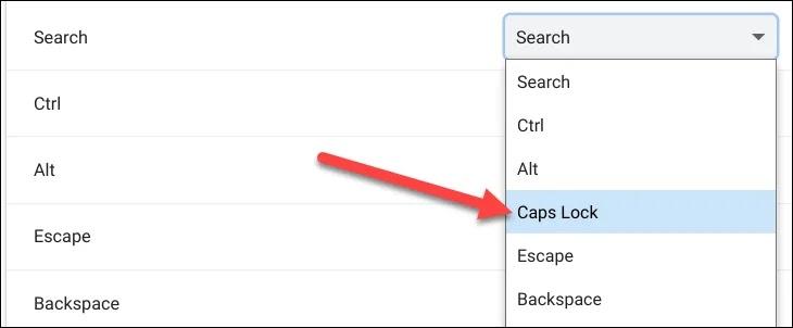 Caps Lock trên Chromebook