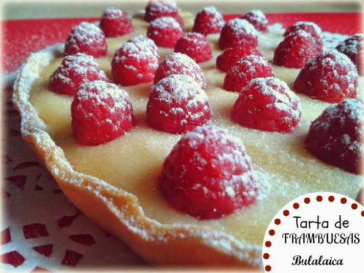 Tarta de frambuesas y crema pastelera