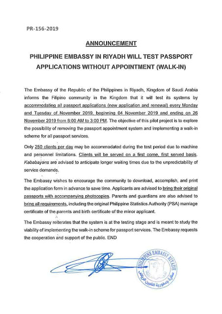Philippine Embassy is testing Passport Applications without Appointment