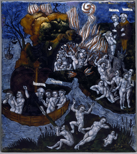 Aeneas waits with the Cumean Sibyl for Charon's barge, which will take him across the river Acheron to the entrance of the Underworld, where he will visit his father, Anchises. The mouth of Hell is represented in the gothic manner as the head of a monster.