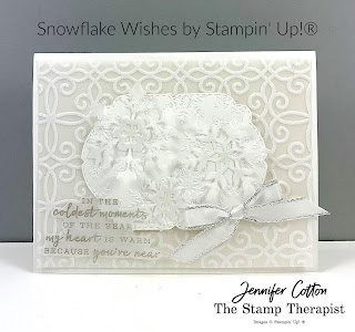 White on white on white card with Stampin' Up!'s Snowflake Wishes Bundle and Plush Poinsettia Designer Paper!  Details on the video (link on blog)!  #StampTherapist #StampinUp