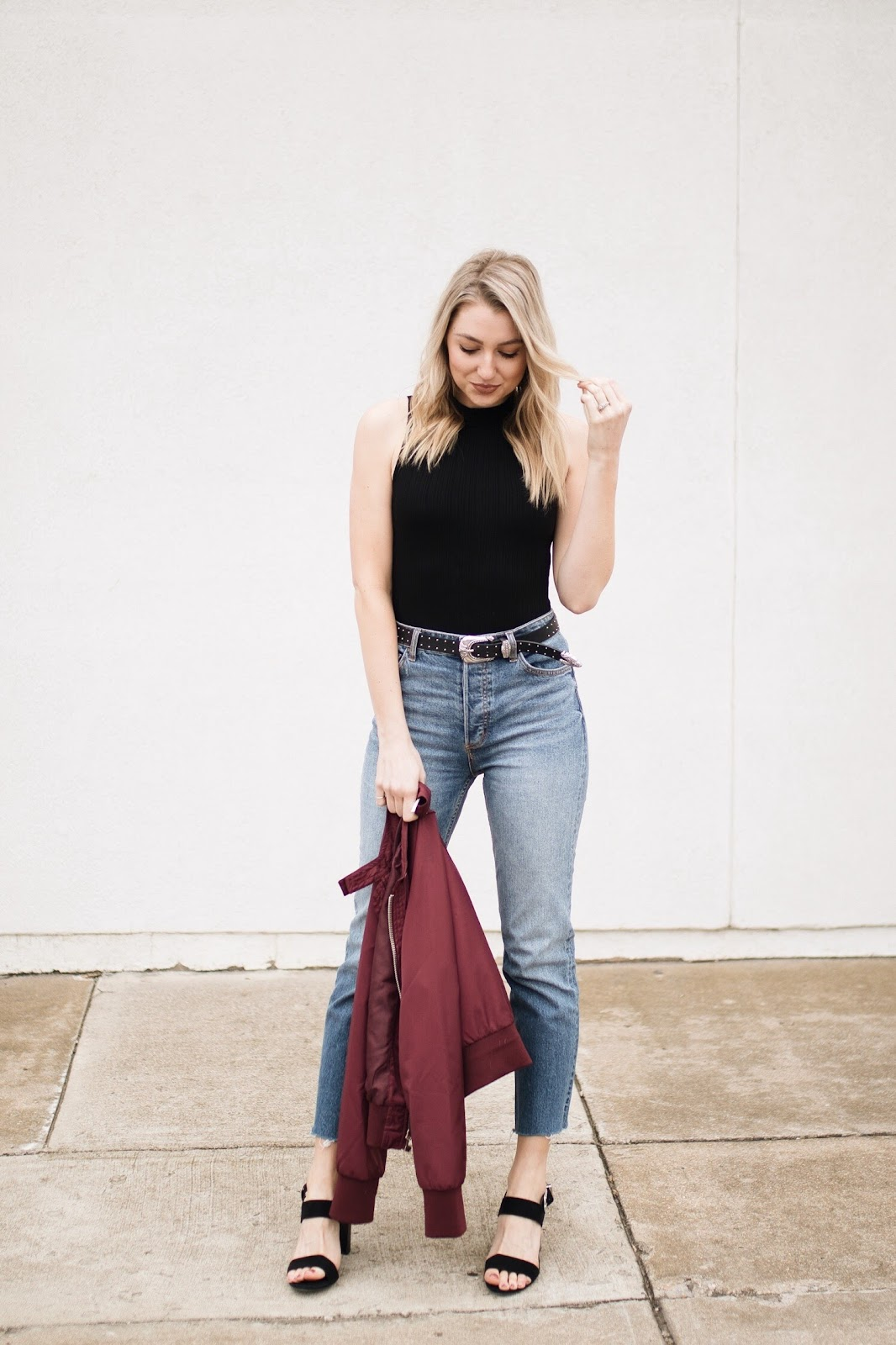 bodysuit with relaxed gf jeans