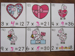Valentine's Day Llamas Missing Number Equations