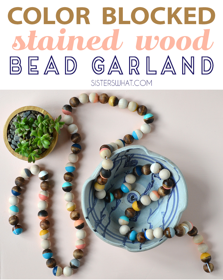 color blocked stained wood bead garland diy tutorial acrylic paint and stain